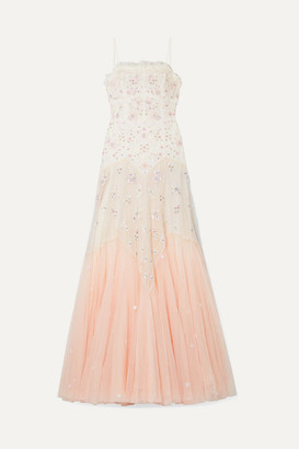 Needle & Thread Pearl Rose Embellished Embroidered Tulle Gown - Pink