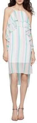 BCBGeneration Striped Double Ruffle Shift Dress