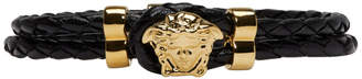 Versace Black Braided Medusa Double Wrap Bracelet