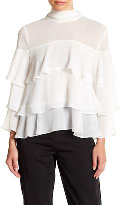 Endless Rose Mock Neck Layered Ruffle Blouse