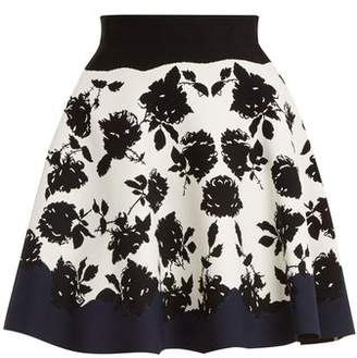 Alexander McQueen Rose Intarsia A Line Knit Skirt - Womens - Navy Multi