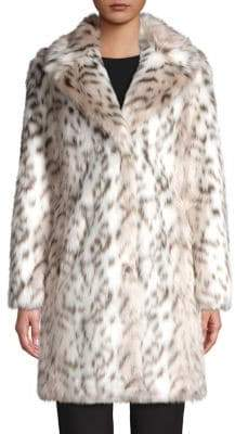 Karl Lagerfeld Paris Leopard Printed Faux-Fur Coat