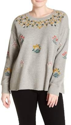 Lucky Brand Floral Garden Embroidered Sweatshirt (Plus Size)
