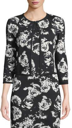St. John Blister Floral Knit Cardigan