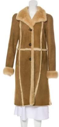 Fur Mink-Trimmed Suede Coat