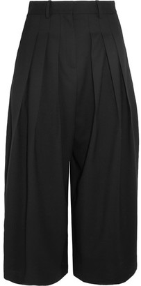 McQ Alexander McQueen - Kilt Pleated Cropped Stretch-wool Wide-leg Pants - Black $515 thestylecure.com