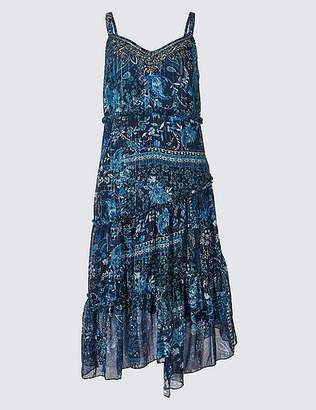 Marks and Spencer Floral Print Asymmetric Swing Midi Dress