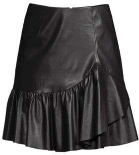 Rebecca Taylor Women's Faux Leather Ruffled A-Line Skirt - Black - Size 10
