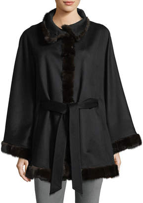 Sofia Cashmere Belted Cashmere Cape w/ Cross Cut Mink Fur Trim