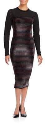 Rachel Roy Striped Three-Quarter Sleeve Sheath Dress