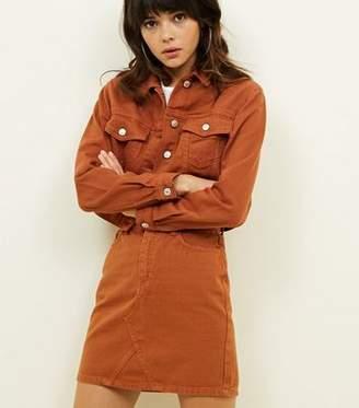New Look Rust Denim Mini Skirt