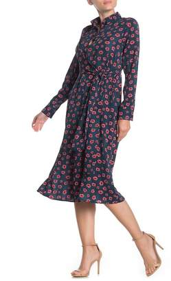MelloDay Side Tie Long Sleeve Floral Print Dress