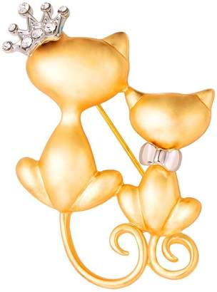 U7 Lovely Crown Cat Brooch & Pin 18K Plated Double Kittens Cute Brooches Accessories for Women