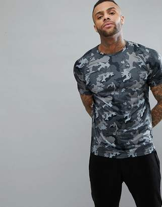 New Look SPORT T-Shirt With Camo Print In Gray