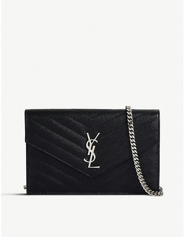 Saint Laurent Monogram quilted leather envelope wallet-on-chain