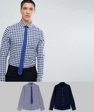 Asos Design Skinny 2 Pack Navy Plain & Check Shirt With Navy Tie