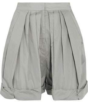 Vika Gazinskaya Pleated Cotton-Poplin Shorts