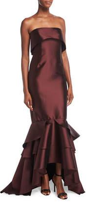 Sachin + Babi Patina Strapless Trumpet Evening Gown w/ Tiered Hem