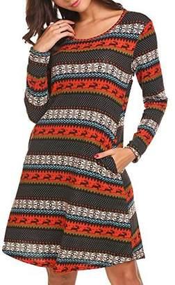 JQstar Women Plus Size Slim Fit Dress O-Neck A-Line Party Dress with Pocket XXL