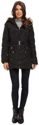 Jessica Simpson Belted Down with Faux Fur Trim Women's Clothing