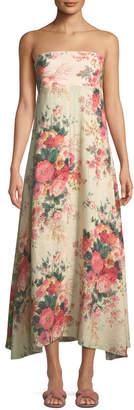 Zimmermann Melody Strapless Floral-Print Linen Maxi Dress