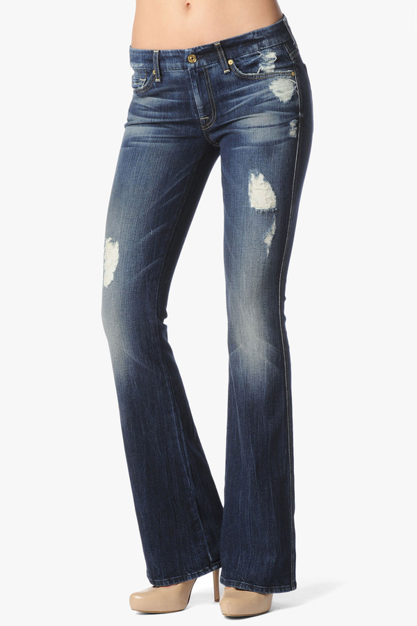"7 For All Mankind Vintage 7 Collection: ""A"" Pocket Flare In Rich Dark Destroyed"