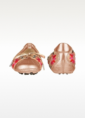 Mario Bologna Free - Embroidered Floral Metallic Leather Ballerina Shoes