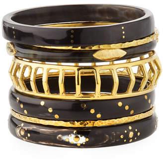 Ashley Pittman Almasi Dark Horn & Bronze Bangles, Set of 7