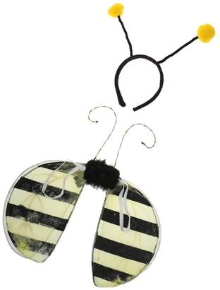 Bumble Bee Dovewill Kids Insect Costume Wings + Antennas Headband Fancy Dress Set