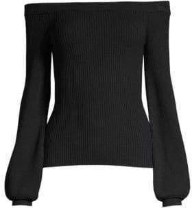 Michael Kors Women's Off-The-Shoulder Merino Wool Sweater - Black - Size XS