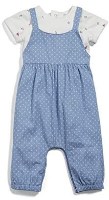 Mamas and Papas Baby Girls' 2 Piece Chambray Dungaree Clothing Set,(Manufacturer Size: New Born)