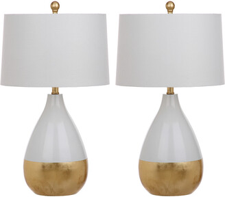 Safavieh Set Of 2 Kingship 24In White And Gold Table Lamps