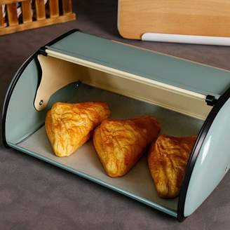 Moaere French Retro Metal Bread Box Bin Cafe Kitchen Storage Containers Roll Top Lid Baking Holder