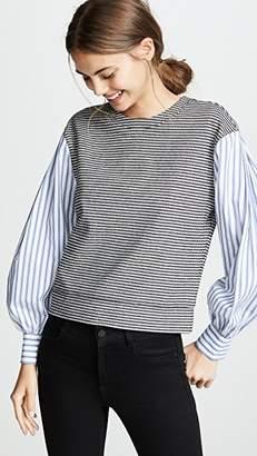 Derek Lam 10 Crosby Plaid Sweatshirt With Shirting Sleeves