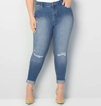 Avenue Virtual Stretch Rip & Repair Ankle Jean in Med Wash