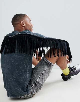 Asos DESIGN festival standard longline long sleeve t-shirt in acid wash with back fringing and studding