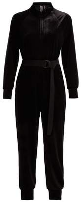 Norma Kamali Belted Velvet Jumpsuit - Womens - Black