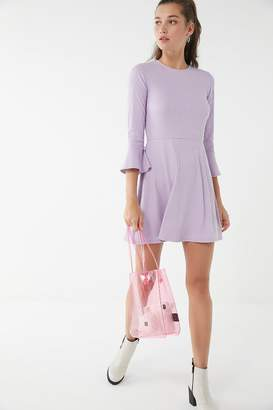 Urban Outfitters Ribbed Flare-Sleeve Mini Dress