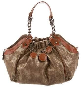 Christian Louboutin Metallic Leather-Trimmed Bag