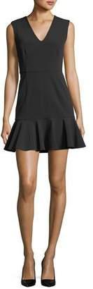 Veronica Beard Scarlet Sleeveless Flounce-Hem Mini Dress