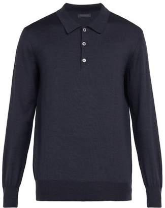 Thom Sweeney - Long Sleeved Merino Wool Polo Shirt - Mens - Blue