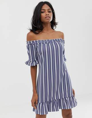 PrettyLittleThing Striped Bardot Ruffle Hem Dress