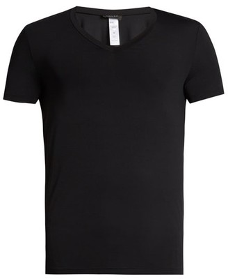 Hanro V Neck Micro Touch Jersey T Shirt - Mens - Black