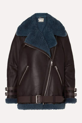Acne Studios Velocite Two-tone Shearling-trimmed Leather Biker Jacket - Brown