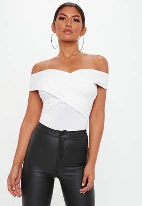 Missguided White Wrap Bardot Bodysuit