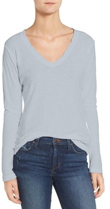 Women's James Perse Slub Cotton V-Neck Long Sleeve Tee $85 thestylecure.com