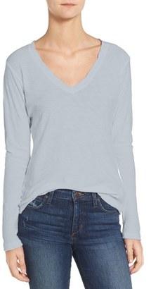 Women's James Perse Slub Cotton V-Neck Long Sleeve Tee $85 thestylecure.com