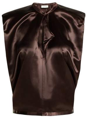 Lemaire Round Neck Satin Top - Womens - Dark Brown