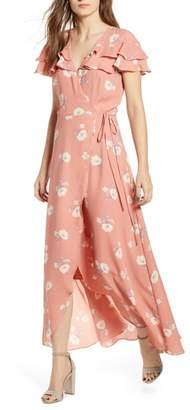 June & Hudson Wrap Ruffle Midi Maxi Dress