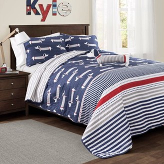 Lush Decor Sausage Dog Quilt Navy 3 or 4-Piece Set